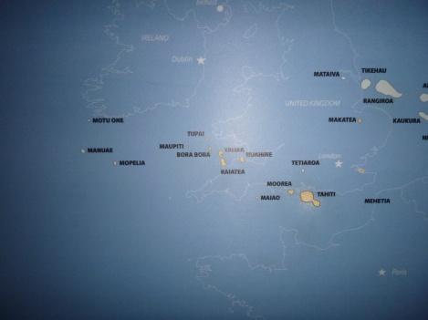 42. Carte de Tahiti et des ïles-sous-le-vent à l'échelle de l'Europe