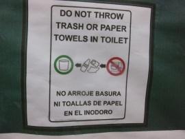 35. En Amérique du Sud, il est d'usage de ne pas jeter le papier toilette dans les toilettes...